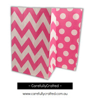 Standing Up Paper Bags - Chevron, Polka Dot, Plain - Hot Pink