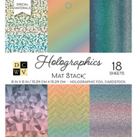 """DCWV Cardstock Stack 6"""" x 6"""" - 18 Sheets - Holographics"""