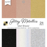 "DCWV Cardstock Stack 6"" x 6"" - 24 Sheets - Metallics with Glitzy Glitter"