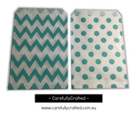 "Mini Favour Paper Bags 4"" x 6"" - Chevron, Polka Dot - Aqua"