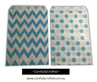 "Mini Favour Paper Bags 4"" x 6"" - Chevron, Polka Dot - Light Blue"