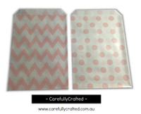 "Mini Favour Paper Bags 4"" x 6"" - Chevron, Polka Dot - Light Pink"