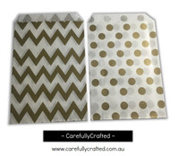 "Mini Favour Paper Bags 4"" x 6"" - Chevron, Polka Dot - Gold"