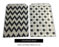 "Mini Favour Paper Bags 4"" x 6"" - Chevron, Polka Dot - Black"