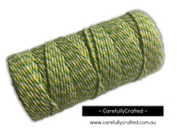 Baker's Twine 12 Ply - 100 Metre (110 Yards) Spool - Green, Yellow and White #BT12-3