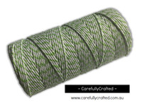 Baker's Twine  12 Ply - 100 Metre (110 Yards) Spool - Light Green and White #BT12-4