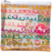 "Freckled Fawn - Printed Clear Plastic Zippered Pouch 8"" x 8"" - Telephone Wire"