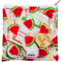 "Freckled Fawn - Printed Clear Plastic Zippered Pouch 8"" x 8"" - Watermelons"