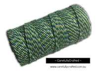 Baker's Twine 12 Ply - 100 Metre (110 Yards) Spool - Green, Aqua and White #BT12-6
