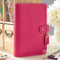 "Color Crush Faux Leather Personal Planner 5.25"" X 8"" - Fuchia - Binder Only"
