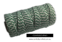 Baker's Twine 12 Ply - 100 Metre (110 Yards) Spool - Dark Green and White #BT12-7