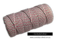 Baker's Twine 12 Ply - 100 Metre (110 Yards) Spool - Light Pink and White #BT12-9