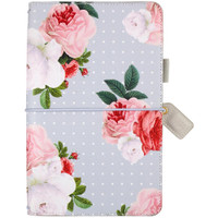 """Webster Pages - Color Crush Faux Leather Travelers' Planner 5.75"""" x 8"""" - Gray Floral"""