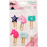 American Crafts - Shimelle Glitter Girl Paper Clips - Set of 6