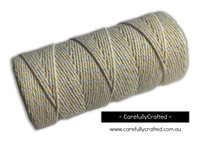 Baker's Twine 12 Ply - 100 Metre (110 Yards) Spool - Pale Yellow and White #BT12-27
