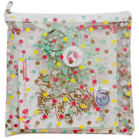 "Freckled Fawn - Printed Clear Plastic Zippered Pouch 8"" x 8"" - Spring Polka Dot"