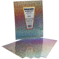 """Self-Adhesive Specialty Paper 8.5"""" x 11"""" - Silver Holographic"""