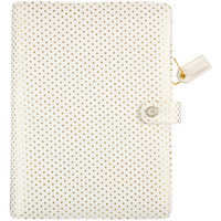 """Color Crush A5 Faux Leather Planner Kit 7.5 """"x 10"""" - Gold Polka Dots"""