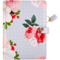 """Color Crush A5 Faux Leather Planner Kit 7.5 """"x 10"""" - Gray Floral"""