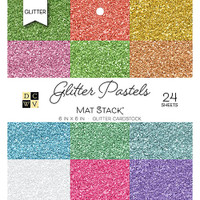 """DCWV Cardstock Stack 6"""" x 6"""" - 24 Sheets - Glitter Pastels Solids"""