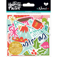 Illustrated Faith Advent Foiled Paper Pieces Die-Cuts - Ephemera Shapes, Tabs & Words