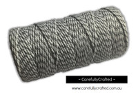 Baker's Twine 12 Ply - 100 Metre (110 Yards) Spool - Grey and White #BT12-43