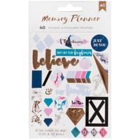 American Crafts Memory Planner Stickers - Marble Crush - Words & Icons