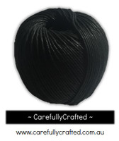 Waxed Hemp Cord - 100 Metre (110 Yards) Roll - Black #WHC10
