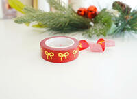 Simply Gilded - Washi Tape - Festive red with gold foil bow washi
