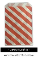 12 Favour Paper Bags - Diagonal Stripe - Orange  #FB5
