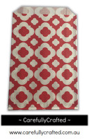 12 Favour Paper Bags - Mod Print - Red  #FB9