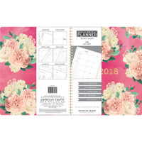 "American Crafts - 2018 Weekly/Monthly Planner 8.5"" x 11"" - Pink Floral and Gold Foil"