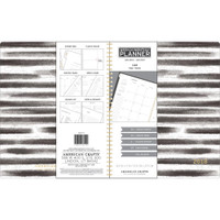 "American Crafts - 2018 Weekly/Monthly Planner 8.5"" x 11"" - Black/White Stripes and Gold Foil"