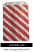 12 Favour Paper Bags - Diagonal Stripe - Red  #FB10