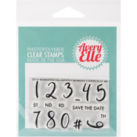 "Avery Elle Clear Stamp Set 2"" X 3"" - Modern Calligraphy Numbers"