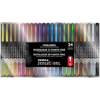 Zebra Zensations Fineliner Pens 0.8mm - Set of 24 - Assorted