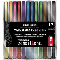 Zebra Zensations Fineliner Pens 0.8mm - Set of 12 - Assorted