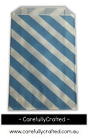 12 Favour Paper Bags - Diagonal Stripe - Blue  #FB16
