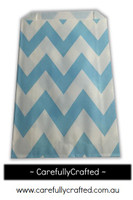 12 Favour Paper Bags - Chevron - Light Blue  #FB18