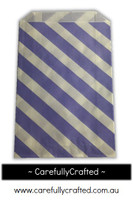 12 Favour Paper Bags - Diagonal Stripe - Purple  #FB27