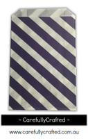 12 Favour Paper Bags - Diagonal Stripe - Dark Purple  #FB31