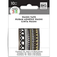 Me and My Big Ideas - The Happy Planner - Mini Washi Tape - 3mm - Set of 10 - Black & White