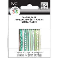 Me and My Big Ideas - The Happy Planner - Mini Washi Tape - 3mm - Set of 10 - Green Hues