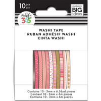 Me and My Big Ideas - The Happy Planner - Mini Washi Tape - 3mm - Set of 10 - Pink Hues