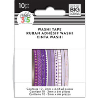Me and My Big Ideas - The Happy Planner - Mini Washi Tape - 3mm - Set of 10 - Purple Hues