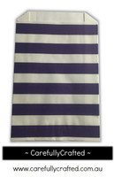 12 Favour Paper Bags - Horizontal Stripe - Dark Purple  #FB32