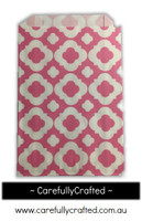 12 Favour Paper Bags - Mod Print - Hot Pink #FB36