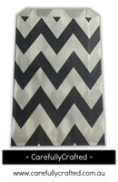 12 Favour Paper Bags - Chevron - Black #FB43