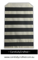 12 Favour Paper Bags - Horizontal Stripe - Black #FB45