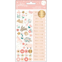 Pebbles - Night Night Baby Girl Repeat Stickers - Phrases & Icons with Gold Foil